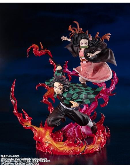 Demon Slayer: Figurine Kimetsu No Yaiba - Figuarts Zero Tanjiro Kamado (Total Concentration Breathing) avec Nezuko